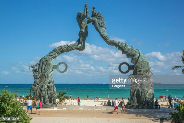playa del carmen beachfront - mayan riviera stock photos and pictures