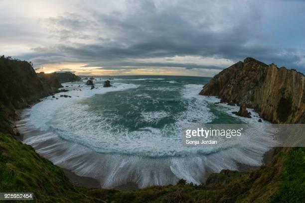 Playa del Silencio, cloudy atmosphere, Bay of Biscay, Asturias, Spain