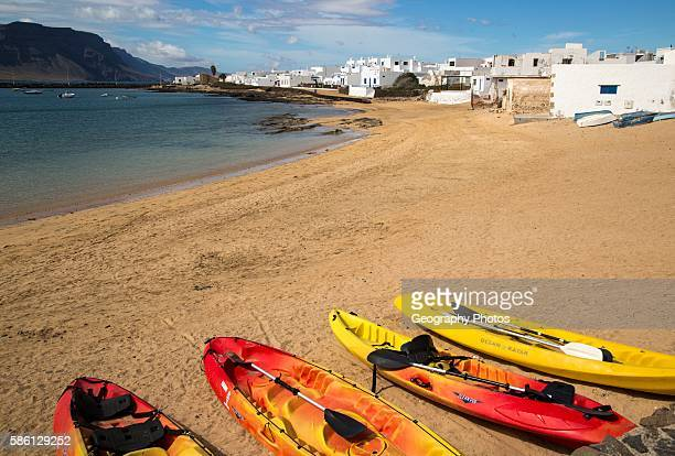 Playa La Laja sandy beach Caleta de Sebo village La Isla Graciosa Lanzarote Canary Islands Spain