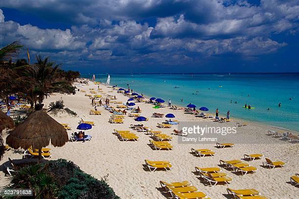 playa paraiso beach at iberostar hotel - playa del carmen stock pictures, royalty-free photos & images