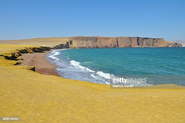 Playa Roja (Red Beach) in Paracas Peninsula, Peru