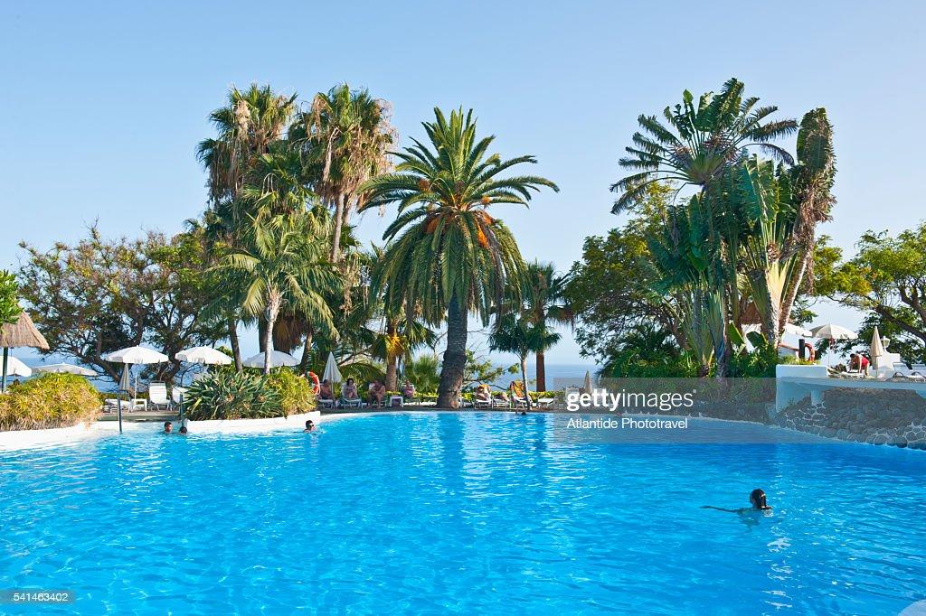 Playa Santiago Hotel Jardin Tecina La Gomera Spain Stock Photo