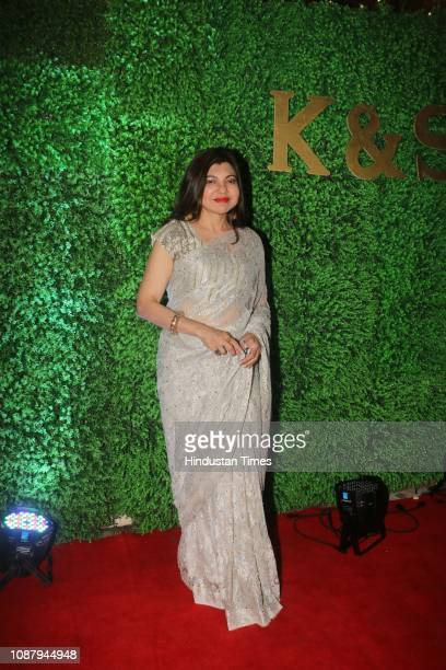 Playback singer Alka Yagnik during wedding ceremony of Indian lyricist Sameer Anjaans daughter Suchita Pandey on January 22 2019 in Mumbai India