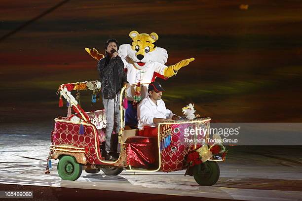 Playback singer Shaan performs with Shera during the closing ceremony of the Commonwealth Games 2010 at the Jawaharlal Nehru Stadium in New Delhi on...