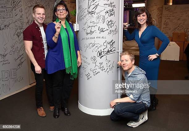 Playbill Digital Correspondent Tyler Mount actress Christine Pedi Features Editor at Playbillcom Ruthie Fierberg and actor Anthony Rapp attend Build...