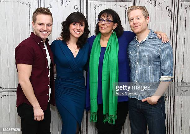 Playbill Digital Correspondent Tyler Mount Features Editor at Playbillcom Ruthie Fierberg actress Christine Pedi and actor Anthony Rapp attend Build...