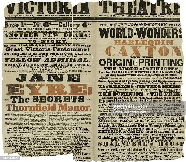A playbill for the Victoria Theatre the theatre is more commonly known as The Old Vic the playbill features Jane Eyre The Secrets of Thornfield Manor...