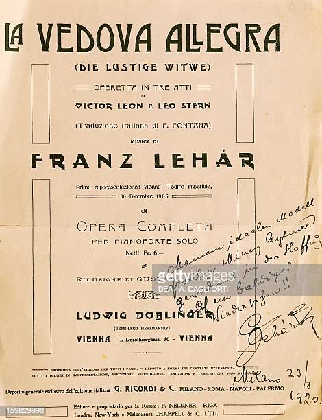 Playbill of The Merry Widow by Franz Lehar with autograph dedication dated Milan August 23 1920 Milan Museo Teatrale