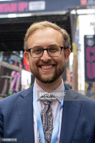 Playbill Vice President and Chief Digital Officer Alex Birsh attends the 'Curtain Up! Broadway is Back' event in Times Square on September 17, 2021...