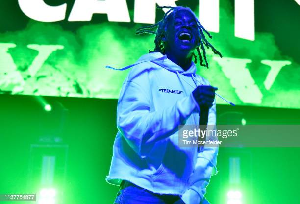Playboi Carti performs during the 2019 Buku Music Art Project at Mardi Gras World on March 22 2019 in New Orleans Louisiana