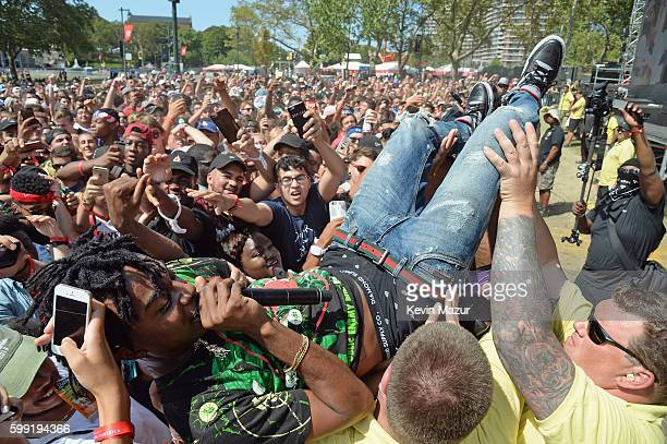 Playboi Carti performs in the crowd during the 2016 Budweiser Made in America Festival Day 2 at Benjamin Franklin Parkway on September 4 2016 in...