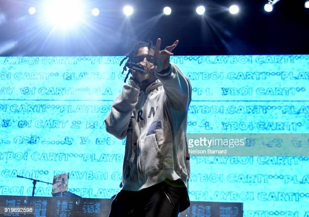 Playboi Carti performs onstage at adidas Creates 747 Warehouse St an event in basketball culture on February 17 2018 in Los Angeles California