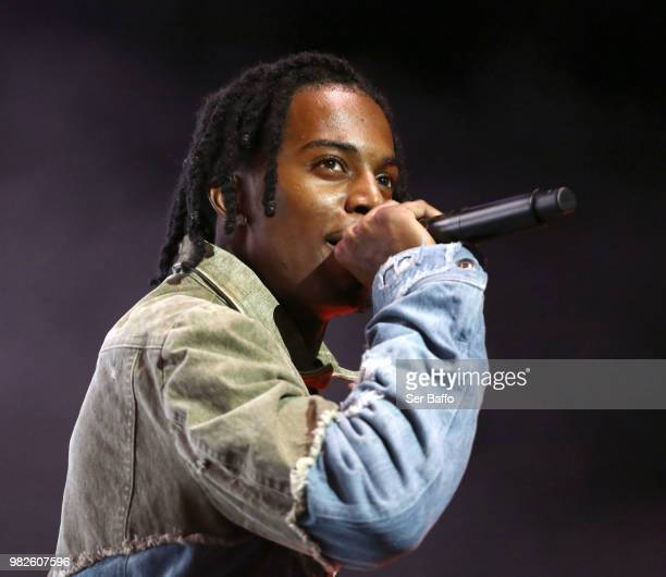Playboi Carti performs onstage at the STAPLES Center Concert Sponsored by SPRITE during the 2018 BET Experience on June 23 2018 in Los Angeles...