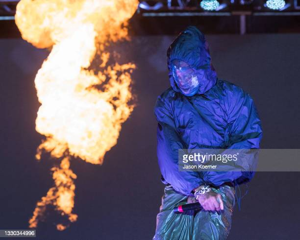 Playboi Carti performs onstage during Day 1 at Rolling Loud Miami 2021 at Hard Rock Stadium on July 23, 2021 in Miami Gardens, Florida.