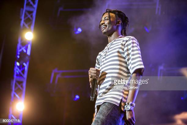 Playboi Carti performs out in the crowd at the 2017 BET Experience on June 24, 2017 in Los Angeles, California.