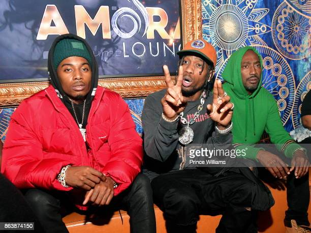 Playboi Carti Travis Scott and Clay Evans attend a Party at Amora Lounge in the early hours of the morning on October 20 2017 in Atlanta Georgia