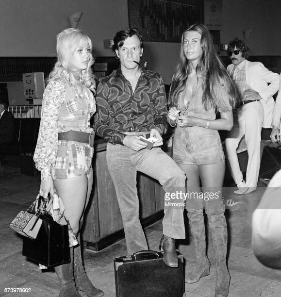 Playboy boss Hugh Hefner pictured at Heathrow Airport before his flight to SaintTropez 8th August 1971