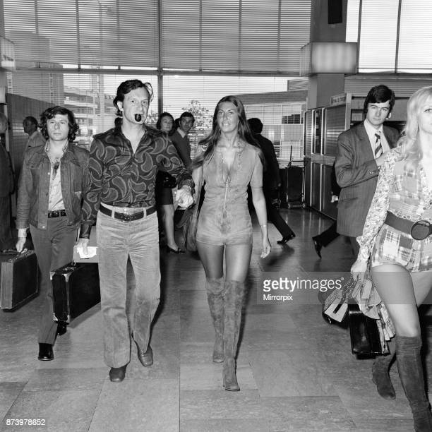 Playboy boss Hugh Hefner pictured at Heathrow Airport before his flight to Saint-Tropez. There to see him off was playmate Marilyn Cole. Travelling...