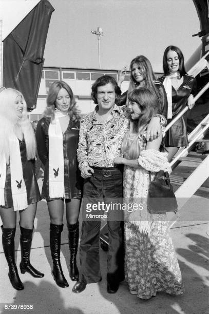 Playboy boss Hugh Hefner with his girlfriend Barbi Benton and Bunny Girls pictured arriving at Heathrow Airport They arrive in the 'Big Bunny' DC9...