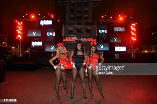 Playboy Bunnies attend the Playboy and Universal Pictures' 'KickAss 2' event at ComicCon sponsored by AXE Black Chill on July 19 2013 in San Diego...