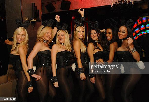 Playboy Bunnies Denise Pernula Charity Mays Patty McNeil Lindsey Roeper Kristy Newman Chandella Powell and Taina Brito pose for photos at The Playboy...
