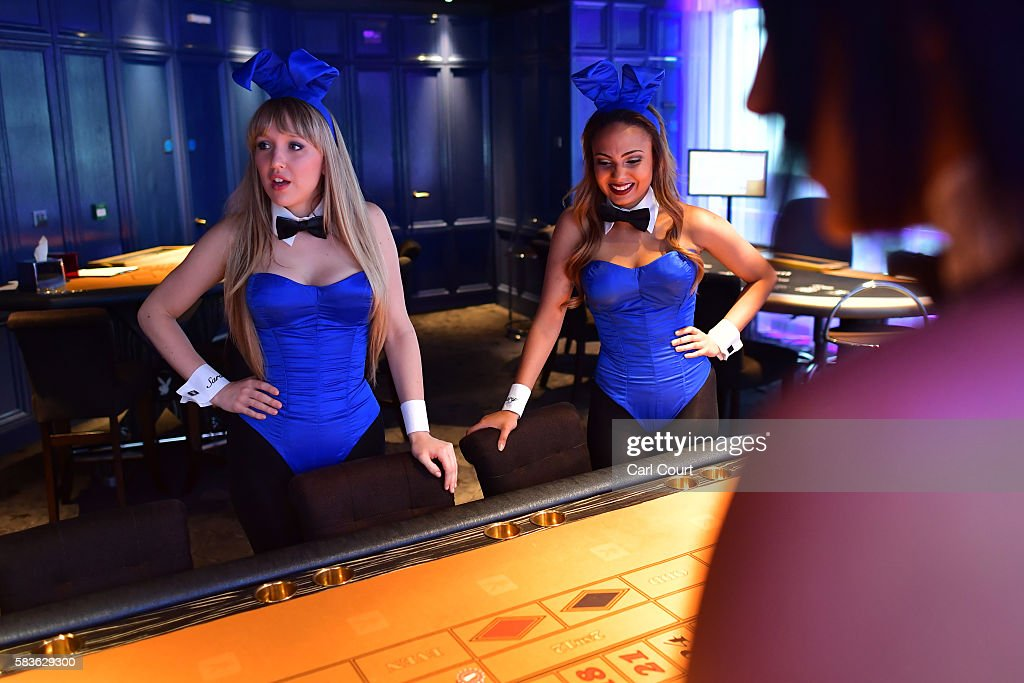 Playboy Bunnies practice their croupier skills before starting work at the Playboy Club on July 26, 2016 in London, England. The Playboy Club London is celebrating its 50th anniversary this year and will mark the event with a 'Touch of Gold' party on July 29.