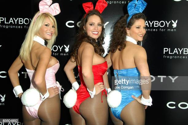 Playboy bunnies Shannon Lindsay and Colleen attend the Playboy fragrance launch at the Hotel on Rivington on October 30 2008 in New York City