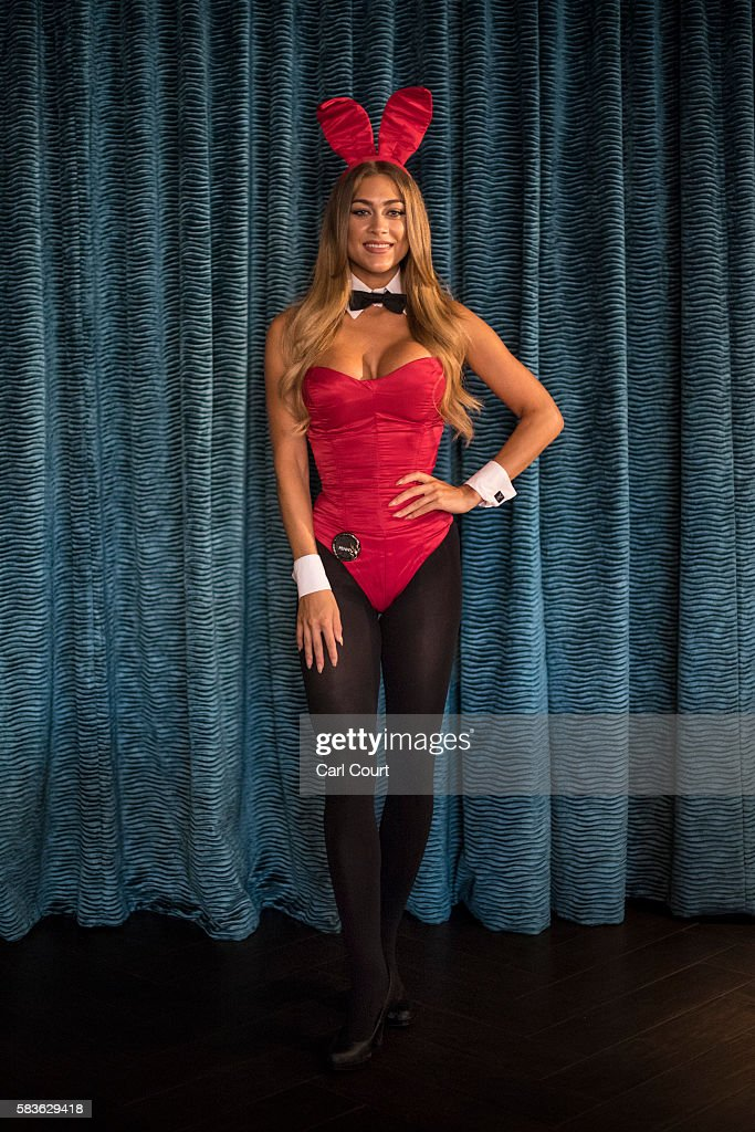Playboy Bunny, Penny (surname not given), poses for a photograph before starting work at the Playboy Club on July 26, 2016 in London, England. The Playboy Club London is celebrating its 50th anniversary this year and will mark the event with a 'Touch of Gold' party on July 29.
