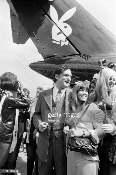 Playboy Editor and Publisher Hugh Hefner arrives at Heathrow Airport in his private DC930 jet the 'Big Bunny' during a grand tour of his empire On...