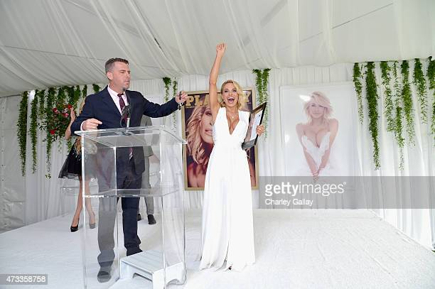 Playboy Editorial Director and Chief Content Officer Jimmy Jellinek and 2015 Playmate of the Year Dani Mathers speak onstage during Playboy's 2015...