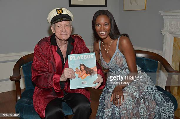 Playboy Founder and EditorInChief Hugh M Hefner poses with 2016 Playmate of the Year Eugena Washington at Playboy's 2016 Playmate of the Year...