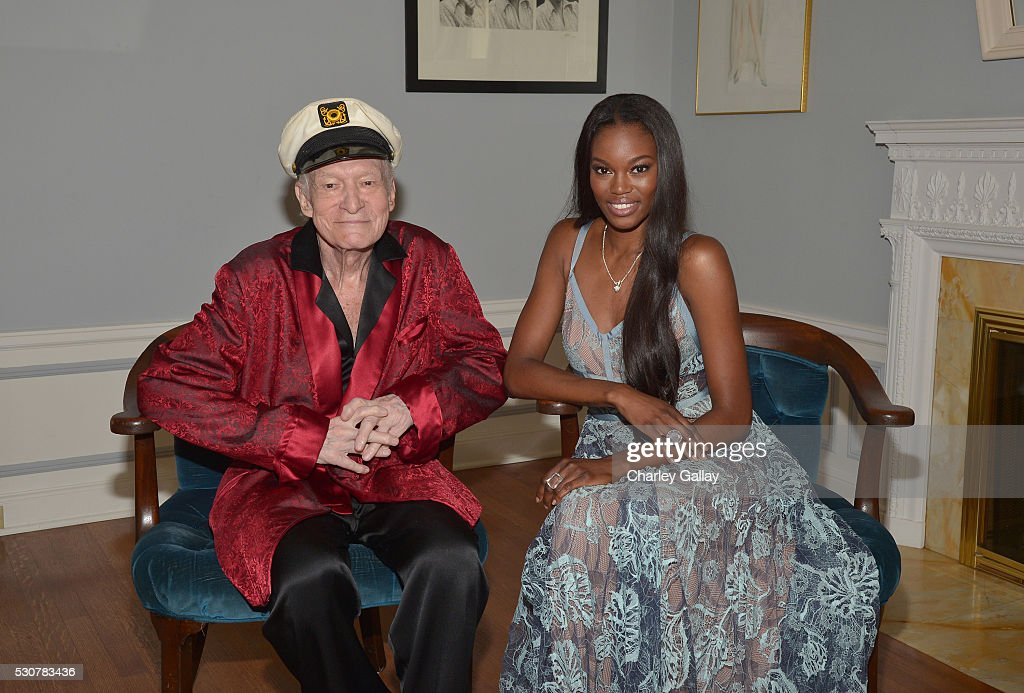 Playboy Founder and Editor-In-Chief Hugh M. Hefner poses with 2016 Playmate of the Year Eugena Washington at Playboy's 2016 Playmate of the Year Announcement at the Playboy Mansion on May 11, 2016 in Los Angeles, California.