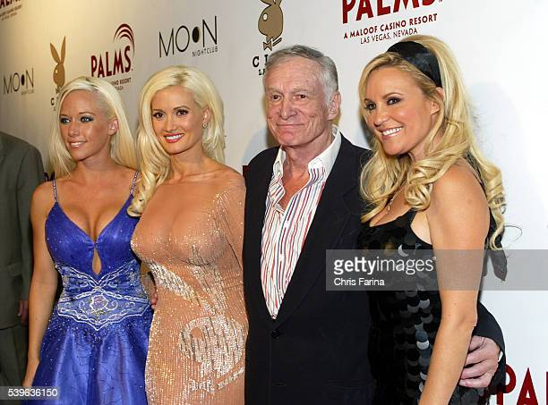 Playboy Founder Hugh Hefner and girlfriends Kendra Wilkinson Holly Madison and Bridget Marquardt of The Girls Next Door arrive at the the Playboy...