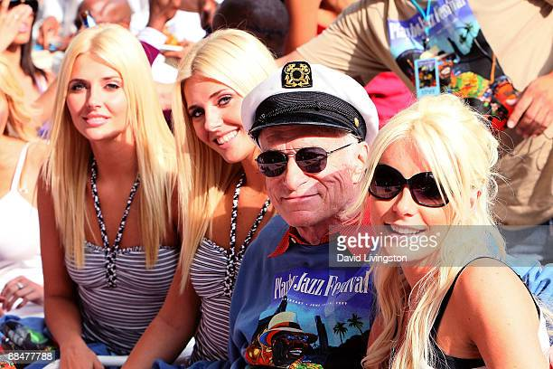Playboy founder Hugh Hefner and girlfriends Kristina Shannon Karissa Shannon and Crystal Harris attend the 31st annual Playboy Jazz Festival at the...