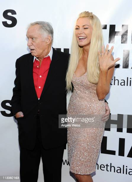 Playboy founder Hugh Hefner and his fiancee Crystal Harris attend the Thalians 55th Annual Gala at the Playboy Mansion on April 30 2011 in Los...
