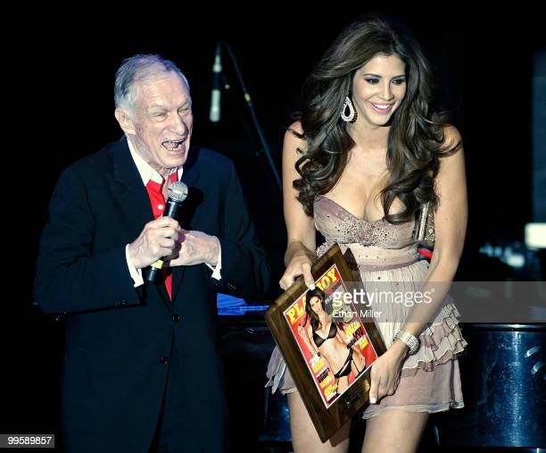 Playboy founder Hugh Hefner introduces model Hope Dworaczyk as the 2010 Playboy Playmate of the Year at the Rain Nightclub inside the Palms Casino...