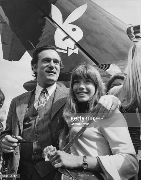 Playboy impresario Hugh Hefner and his girlfriend Barbi Benton arriving at London Airport on board Hefner's private DC9 airliner 29th September 1970...