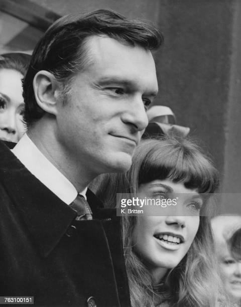 Playboy impresario Hugh Hefner his girlfriend Barbi Benton outside the London Playboy Club in Park Lane 5th September 1969