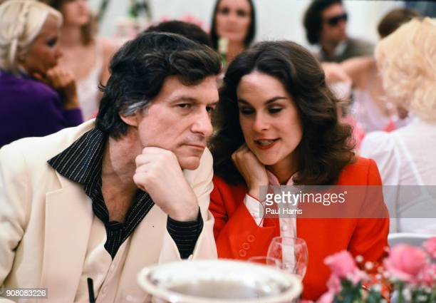 Playboy impresario Hugh Hefner with his daughter, Christie Hefner, at the 'Playmate of the Year' luncheon, May 4, 1982 at the Playboy Mansion West,...