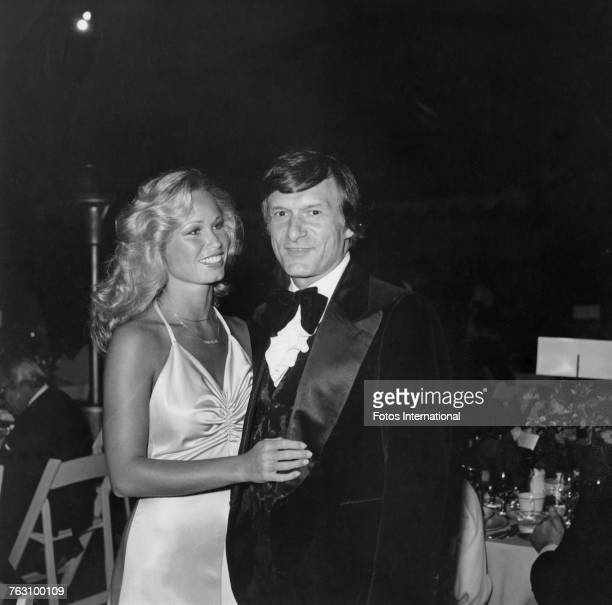 Playboy impresario Hugh Hefner with his girlfriend model Sondra Theodore at a fundraising party for the City of Hope cancer charity at the Playboy...