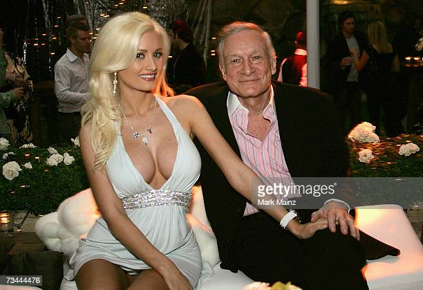 Playboy Magazine Creator and Publisher Hugh Hefner attends the launch party for season three of The Girls Next Door at the Playboy Mansion February...