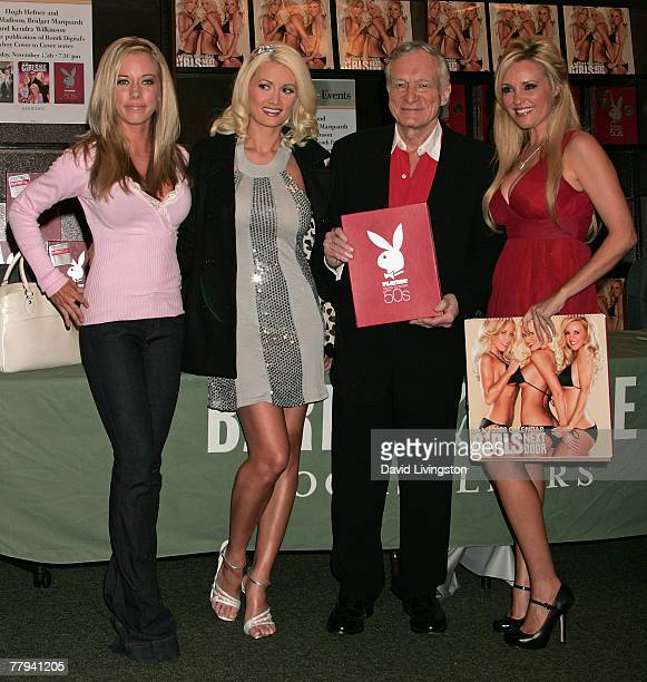 Playboy magazine founder Hugh Hefner and stars of 'The Girls Next Door' reality series Kendra Wilkinson, Holly Madison and Bridget Marquardt attend a...