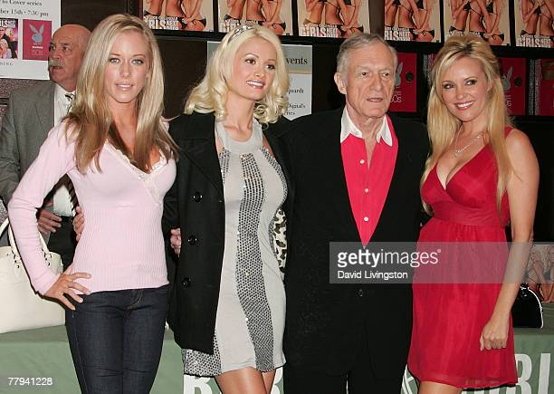 Playboy magazine founder Hugh Hefner and stars of 'The Girls Next Door' reality series Kendra Wilkinson Holly Madison and Bridget Marquardt attend a...