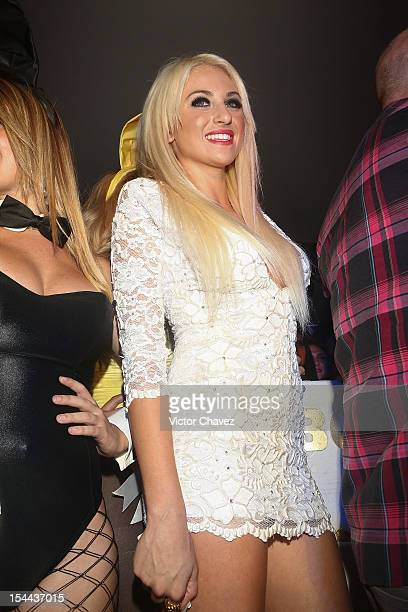 Playboy Miss Social Khloe Terae attends the Playboy Mexico magazine 10th anniversary party at Allondra interlomas on October 18 2012 in Mexico City...
