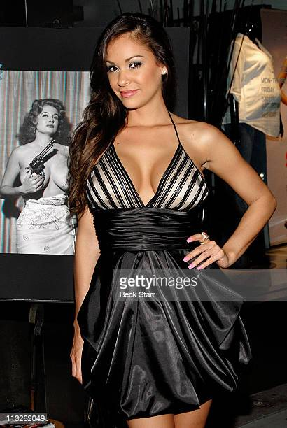 Playboy model Bambi Lashell arrives at the Taschen and Playboy launch of The Big Book Of Breasts 3D at Taschen on April 28 2011 in Beverly Hills...