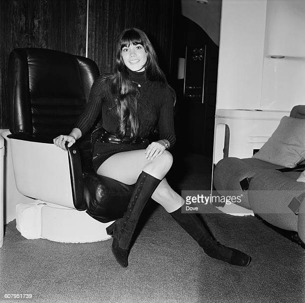 Playboy model Barbi Benton in Hugh Hefner's aircraft at London Airport before flying back to Chicago 20th February 1971