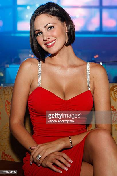 Playboy model Sara Stokes arrives at Hawaiian Tropic Zone's 'Torrid' Nightclub at the Planet Hollywood Resort Casino on August 15 2008 in Las Vegas...