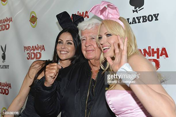 Playboy model Summer Altice actor Clu Gulager and Playboy model Irina Voronina arrive to the premiere of Dimension Films' Piranha 3DD at Mann Chinese...