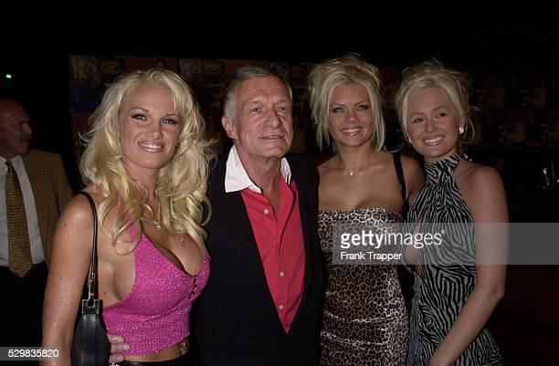 'Playboy' owner Hugh Hefner with a few bunny girls