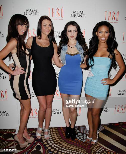 Playboy Playboy Playmates Valerie Mason Rainy Day Kelley Thompson and Leola Bell host St Patrick's Day party at the Tabu Ultra Lounge at the MGM...